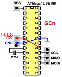 Схема отладочной платы для ATMega48/88/168